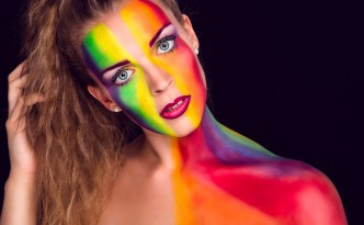 Foto Shooting Regenbogen Extreme Make-up Rainbow Beauty Dish